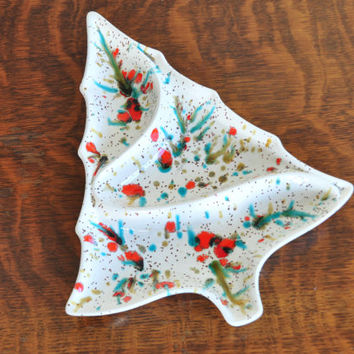 Vintage Ceramic Christmas Tree Tray, Splatter Paint Candy Dish
