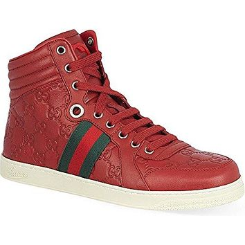 Gucci Men's GG Guccissima Leather High-top Sneaker, Red 221825