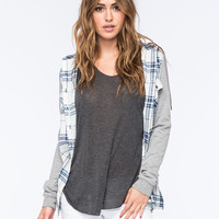 Full Tilt Boyfriend Womens Hooded Flannel Shirt Light Blue  In Sizes