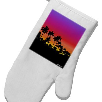 Palm Trees and Sunset Design White Printed Fabric Oven Mitt by TooLoud
