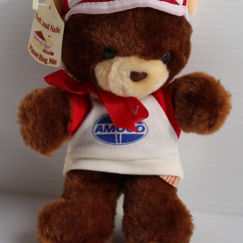 AMOCO STUFFED BEAR, Vintage stuffed bear, vintage promotional item, brown stuffed bear, Gas station promotional item, advertising item