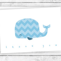 Blue Chevron Whale - Thank You Cards