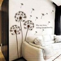 BONAMART ® Dandelion nursery kids room removable quote vinyl wall decals stickers AY695