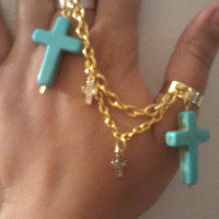 Bohemian Gold Chain Ring with Multi Colored Crosses