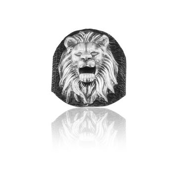 925K Sterling Silver Embossed King Lion Men Ring