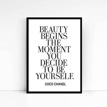 "Printable Art ""Beauty begins"" Inspirational Print Coco Chanel Quote Typography Quote Home Decor Motivational Poster Wall Art Coco Print"