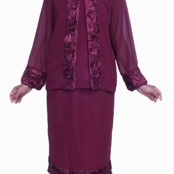 Burgundy Plus Size 3 PC Set Semi Formal Dress Tea Length Jacket Top