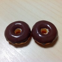 2 pcs Chocolate Donuts Cabochon Flatbacks 25 x 25 mm