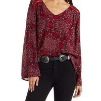 Burgundy Cmb Paisley Chiffon Top with Crochet Trim by Charlotte Russe