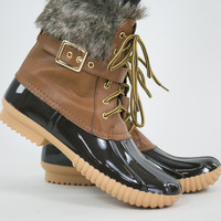 Fur Cuff Rubber Ankle Boots