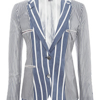 Linen-and-Silk Striped Jacket by Thom Browne - Moda Operandi
