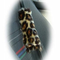 Brown Leopard animal print furry faux fur fluffy fuzzy car seatbelt pads covers 1 pair