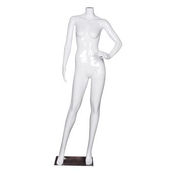 Headless Female Mannequin Plastic Dress Form Display Full Body High Gloss White