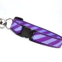 "Cat Collar - ""Purple Reign"" - Two-tone Purple Stripes"