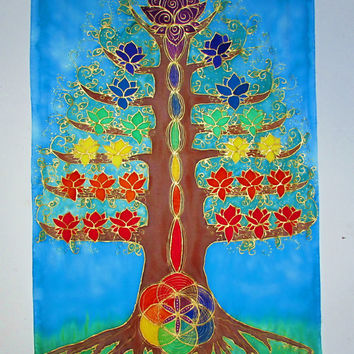 Silk wall hanging Lotus Tree, tree of life art, chakra art, lotus art, sacred geometry, metaphysical art, meditation art, spiritual art