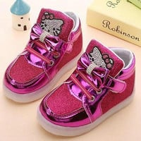 Children Shoes 2016 New Spring Hello Kitty Rhinestone Led Shoes Girls Princess Cute Shoes With Light EU 21-30