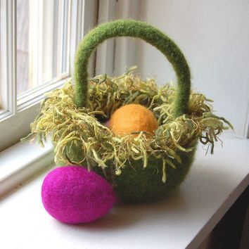 Easter basket felted wool bowl woodland spring grass by maddyandme