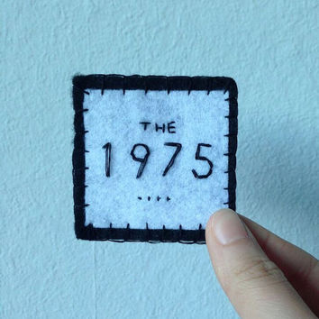 The 1975 handmade felt patch, brooch, pin, pinback, button, embroidery, embroidered