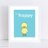 Duck Nursery Art Print Baby Boy Girl Kids Wall Decor Cute Animal Illustration Childrens Playroom Bedroom Bathroom Shower Gifts Gift Ideas