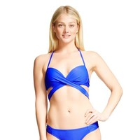 Dark Blue Push-up Halter Wrap Bikini Top - Xhilaration