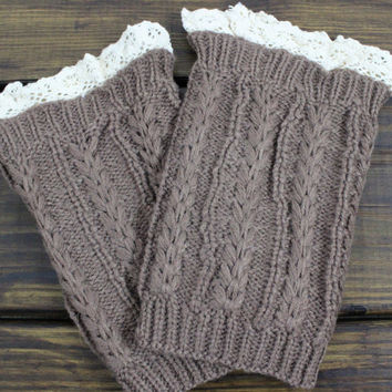 Womens Knit Boot Cuffs, Lace Boot Cuffs, Womens Boot Socks, Knitted Leg Warmers, Cable Knit Boot Cuff, Lace Boot Topper, Knit Boot Topper