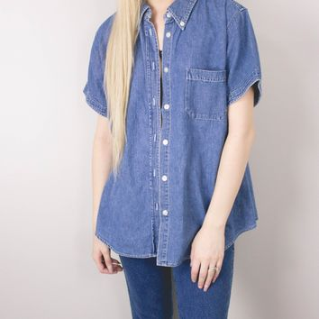 Vintage Denim Chambray Button Up Blouse