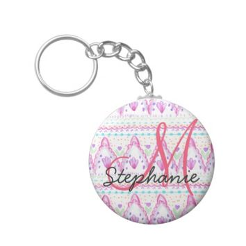 Pink Pretty Bohemian Watercolor Aztec Monogram Keychain