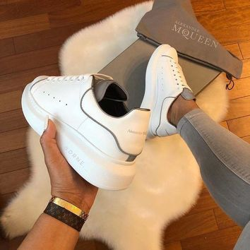 Alexander Mcqueen 19ss 3M Reflective Fashion Women Casual Thick Sole Sneakers Small White Shoes