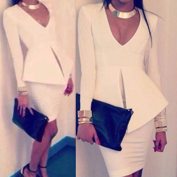 White Slim Plunging Neck Long Sleeve Dress