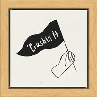 """6""""x6"""" Crushing It Framed Wall Canvas White"""