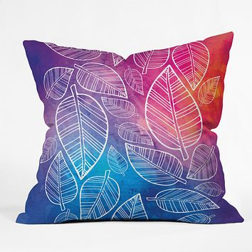 Lara Kulpa Feather Leaves Throw Pillow