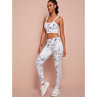 Allover Graphic Sports Bra With Leggings