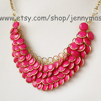 Hot Pink Jewelry - Bubble Statement Necklace,Mermaid Necklace,Valentine Gift,beaded jewelry