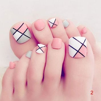 2018 New Hot 24 Pcs/Set Fresh Summer Style 3D Toe Fake Nails Foot Full Toes Nail Art Tips False Nails With Glue For Lady Girl
