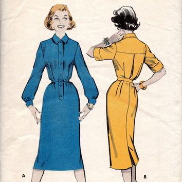 Retro 50s Shirtdress Butterick 8294 Sewing Pattern Casual Wiggle Dress Fitted Skirt Back Yoke Blouse Long Sleeve Mad Men Style Bust 35