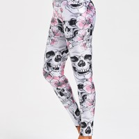 Halloween Flower Skull High Waist Leggings