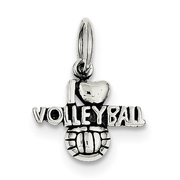 Sterling Silver Antique I (heart) Volleyball Charm QC5096