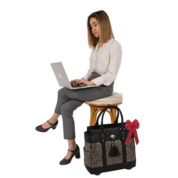 """THE DALLAS"" Tooled Rolling iPad, Tablet or Laptop Tote Holdall Bag (fits up to 17""/17.3"" laptop)"