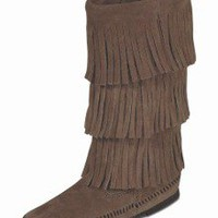 Women's Fringe Boots - Calf Hi 3-Layer Fringe Boot Style 1638 Dusty Brown - MoccasinHouse.com