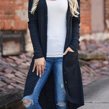 Black Patchwork Pockets Draped Single Breasted V-neck Long Sleeve Cardigan Sweater
