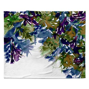 "Ebi Emporium ""Floral Cascade 4"" Purple Green Fleece Throw Blanket"