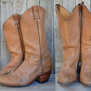 Vintage Country Western Tan Leather Stacked Heel Justin Cowboy Boots, 10 D Mens