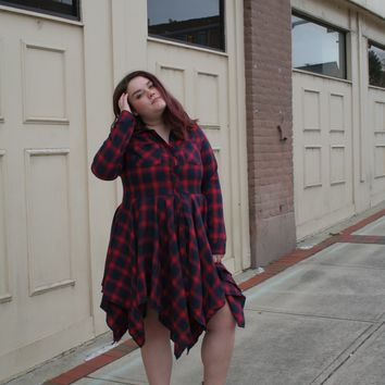 Buffalo Plaid Button-down Dress with Jagged Hem