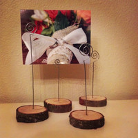 Photo Holders,Photo Stands, Business Card Holders, Picture Stands, Picture Stands, Set of 4 Natural Wood Rounds w/Wire