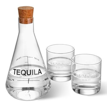Tequila Decanter in Wood Crate with Two Lowball Glasses