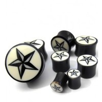 Organic Nautical Star Horn Plugs (2 Gauge - 1 Inch) | UrbanBodyJewelry.com