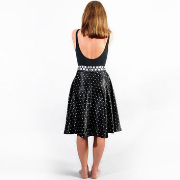 Women / Bottoms / Black & White polka dot skirt / Retro Skirt