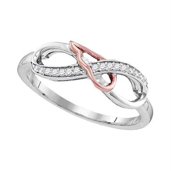 Sterling Silver Women's Round Diamond 2-tone Infinity Band Ring 1/10 Cttw - FREE Shipping (US/CAN)