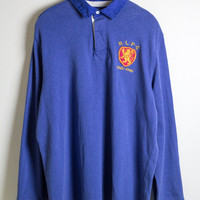 BLUE POLO RUGBY / ralph lauren rugby shirt / rlpc / custom fit / crest emblem / vintage / mens / xl