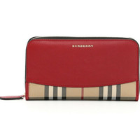 Burberry Red Horseferry Check and Leather Zip-around Wallet